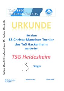 Indiaca-Turnier in Hackenheim / TSG Mixed-Team